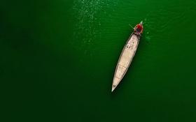 Обои река, лодка, человек