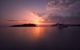 Обои закат, силуэты, небо, солнце, гладь, море