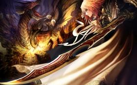 Обои дракон, воин, мечь, tatakai