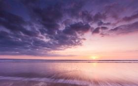 Картинка море, небо, облака, закат
