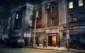 Обои машина, ночь, здание, человек, Call of Juarez, охранник, The Cartel