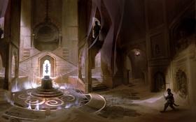 Картинка город, магия, человек, свечение, храм, пески, Prince of Persia
