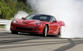 Обои дым, Corvette, Chevrolet, тачки, ZR1, шевроле, старт
