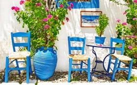 Обои город, blue, Greece, chairs