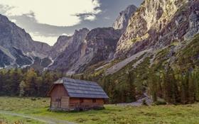 Обои горы, дом, хижина, природа