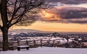 Картинка зима, пейзаж, закат, Italy, скамья, Marche, Smerillo