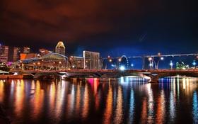 Обои мост, city, дома, Сингапур, отель, ночной, night