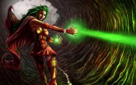 Обои Девушка, пещера, плащ, магия, костюм, зеленый луч смерти