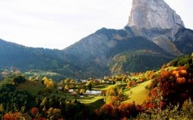 Картинка зелень, лес, трава, деревья, пейзаж, горы, природа