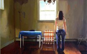 Обои мебель, ожидание, девушка, картина, комната