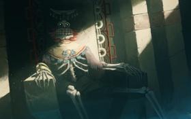 Картинка арт, скелет, трон