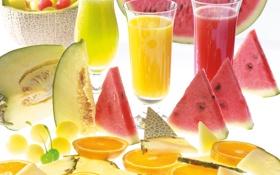 Картинка апельсин, арбуз, сок, стаканы, дыня
