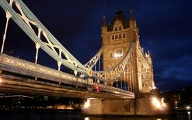 Обои вода, свет, ночь, отражение, река, Англия, Лондон