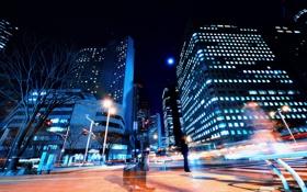 Картинка свет, ночь, город, люди, улица, дома, выдержка