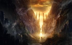 Картинка свет, закат, горы, путешественник, ущелье, mountain