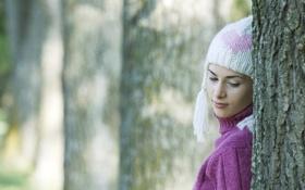 Обои любовь, природа, девушки, дерево, шапка, настроения. девушка