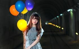 Обои шарики, лицо, волосы, платье, туннель, милашка