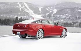 Картинка Jaguar, Красный, Зима, Авто, Снег