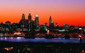 Обои небо, ночь, город, огни, небоскребы