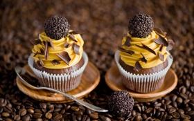 Картинка желтый, кофе, шоколад, зерна, конфеты, крем, десерт