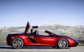 Обои крыша, McLaren, суперкар, red, вид сбоку, Spyder, MP4-12C