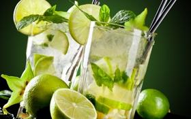 Обои лайм, напиток, drink, lime, MOHITO