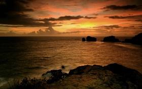 Картинка море, небо, вода, облака, закат, камни, океан