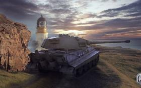 Обои скала, маяк, Германия, танк, танки, Germany, WoT