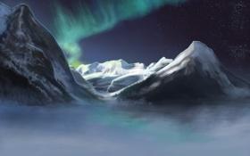 Картинка зима, снег, горы, рисунок, арт, Полярное сияние, Aurora Borealis