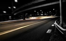 Обои дорога, ночь, мост, город, размытость, фонари