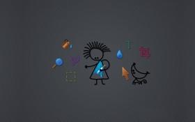 Обои серый фон, экран, символы, hi-tech, курсор, значки, предметы