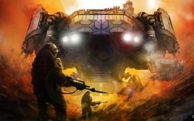 Обои оружие, транспорт, дым, корабль, арт, солдаты, броня