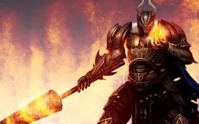Картинка огонь, меч, шар, доспех, воин, шлем, арт