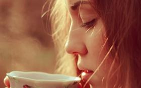 Обои девушка, кружка, чашка, профиль