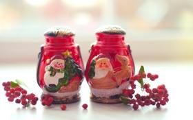 Обои подсвечники, Рождество, Новый год, Christmas, New Year, ягоды, зима