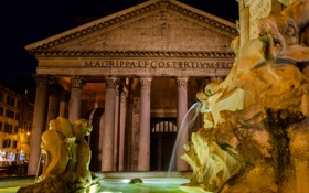 Обои ночь, огни, Рим, Италия, фонтан, Пантеон