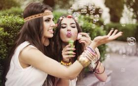 Картинка пузыри, девушки, настроение, улыбки, подруги