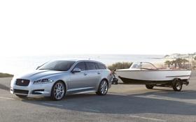Обои небо, берег, лодка, Jaguar, ягуар, передок, универсал