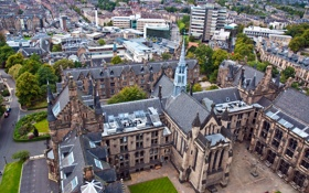 Картинка дома, Великобритания, архитектура, вид сверху, улицы, Glasgow University