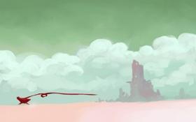 Обои облака, пустыня, игра, бег, развалины, лента, плащ