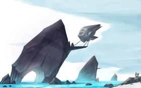 Обои море, камни, люди, робот, арт