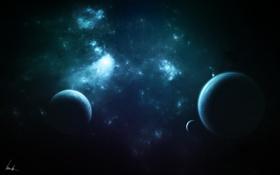 Картинка звезды, планеты, созвездие, спутники, nebula