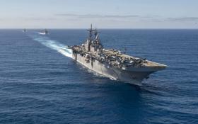 Обои океан, корабль, десантный, USS Essex, (LHD-2)