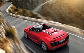 Обои Red, Audi R8, Mountain, Road, Cabrio, Motion