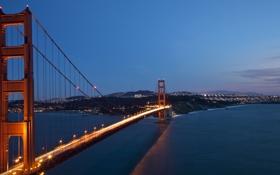 Обои мост, огни, города, пейзажи, золотые ворота, сан франциско