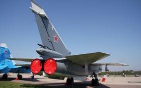 Картинка ВВС, Су-27, Су-24, Бомбардировщик, РОССИИ, Сухой