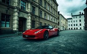 Обои City, Ferrari, Red, 458, Street, Italia, Performance