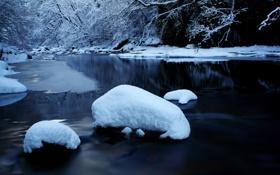 Обои зима, снег, природа, река