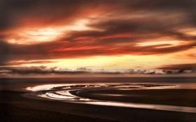 Обои море, небо, облака, закат, берег, побережье, горизонт