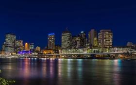 Картинка ночь, огни, река, дома, Австралия, набережная, Brisbane